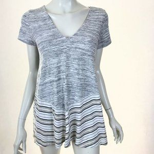 Anthropologie Puella Gray Striped Tunic Top